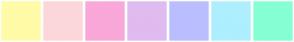 Color Scheme with #FFFBA6 #FCD7DA #FAA7D9 #E0BBF0 #BABEFF #ADEFFF #85FFD4