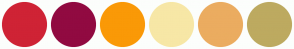 Color Scheme with #CF2335 #910A41 #FA9907 #F7E7A6 #EBAC60 #BDAA60