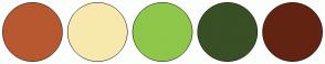 Color Scheme with #B85830 #F7E9AD #8FC74A #394F26 #632313