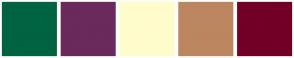 Color Scheme with #006341 #6A2A5B #FFFCCC #BC8660 #720027