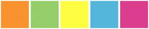 Color Scheme with #F9932E #96CE69 #FFFD41 #54B6DB #DC3E8D