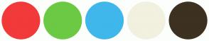Color Scheme with #F23A3A #6CC944 #3FB7EB #F2F0DF #3D3121