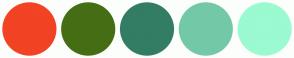 Color Scheme with #F24324 #456E14 #337D64 #73C9A7 #9BFAD0