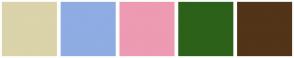 Color Scheme with #DBD3A9 #8FACE3 #ED9AB3 #2C6119 #523418