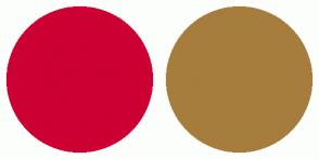 Color Scheme with #CC0033 #A67D3D