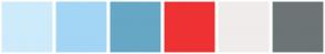 Color Scheme with #CEEBFB #A3D6F5 #66A7C5 #EE3233 #F0ECEB #6C7476
