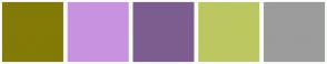 Color Scheme with #827B07 #C992E0 #7D5D8F #BDC75F #9C9C9C