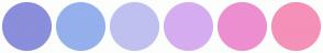 Color Scheme with #8A8EDB #95B0ED #C0C0F0 #D5ADF0 #ED8ED1 #F590B9
