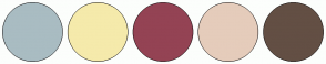 Color Scheme with #A9BCC2 #F5EAAB #944354 #E5CCBB #634F44