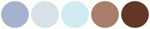 Color Scheme with #A6B2CE #D8E2E6 #D1EBF2 #AA7E6A #633725