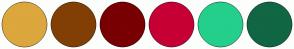 Color Scheme with #DCA73D #823F04 #790003 #C60034 #24CF8B #116644