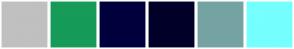 Color Scheme with #C0C0C0 #169B59 #00003D #000029 #75A3A3 #75FFFF