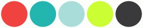 Color Scheme with #F1433F #23B5AF #A9DDD9 #CCFF33 #3A3A3C
