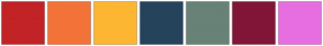 Color Scheme with #C22326 #F37338 #FDB632 #26435C #698277 #801638 #E66EE0