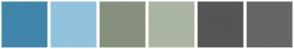 Color Scheme with #4086AA #91C3DC #87907D #AAB6A2 #555555 #666666
