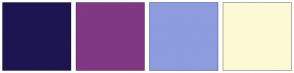 Color Scheme with #1D154F #813885 #8C9CDE #FCFAD4