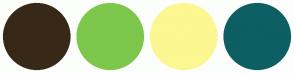 Color Scheme with #382818 #7DC74C #FCF790 #0D5F63