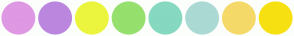 Color Scheme with #DF98E3 #BB87DE #ECF53D #96E06E #86D9C0 #ABD9D4 #F5D969 #F7E011
