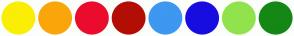 Color Scheme with #FAEE05 #FAA60A #EB0C2D #B30E05 #3E97F0 #180DE0 #91E34D #148714