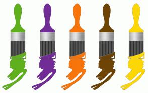 Color Scheme with #60B01E #712C96 #F7750A #6E4405 #FCD705