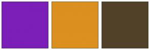 Color Scheme with #7B1FB8 #DB901F #524129