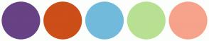 Color Scheme with #674285 #CC4E18 #72BADB #B8E092 #F7A28B