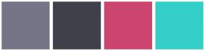 Color Scheme with #747687 #3F414A #CC456E #34CFC7