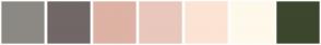 Color Scheme with #8C8984 #726767 #DEB2A4 #E9C7BD #FCE4D4 #FFF9EB #3C472D