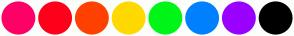 Color Scheme with #FF0066 #FF001A #FF4000 #FFD900 #00F518 #0080FF #9900FF #000000