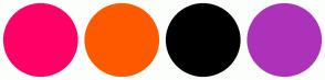 Color Scheme with #FF0066 #FF5900 #000000 #AD32BA