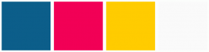 Color Scheme with #0C5E8A #F20056 #FFCC00 #FAFAFA