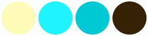 Color Scheme with #FFFBB8 #1FF4FF #00C9D4 #362204