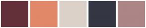 Color Scheme with #633039 #E18868 #DBD1C8 #343643 #AC8586