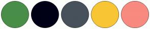 Color Scheme with #488E48 #000016 #47515B #F8C634 #F88A80