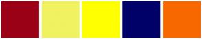 Color Scheme with #9B0017 #F0F262 #FFFF00 #000069 #F86800