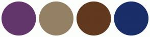 Color Scheme with #63366B #948165 #61391F #1A2E69