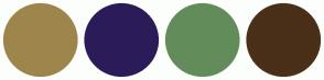 Color Scheme with #9E854C #2B1C59 #638C5B #4A2F19