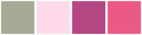 Color Scheme with #A6AB96 #FFDBEA #B54884 #EB5985