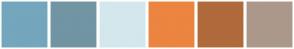Color Scheme with #74A6BD #7195A3 #D4E7ED #EB8540 #B06A3B #AB988B