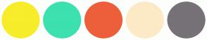 Color Scheme with #F7ED2A #3DE0AF #ED5F3B #FCEAC7 #777178