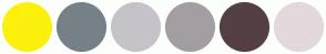 Color Scheme with #FCF00D #768187 #C5C3C7 #A39EA1 #543F44 #E3D8DB