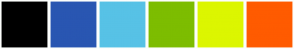 Color Scheme with #000000 #2956B2 #57C2E6 #7DBD00 #DCF600 #FF5B00