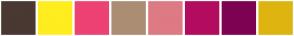 Color Scheme with #4A3833 #FFED1F #ED4272 #AB8D74 #DE7A84 #B30C5F #7D0252 #DEB510