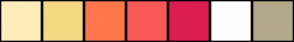 Color Scheme with #FFEDBA #F5D882 #FF774A #F75959 #DB1D4F #FFFFFF #B3A98B