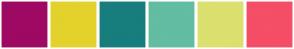 Color Scheme with #9E0963 #E3D22B #187D7D #62BDA2 #DBE06E #F54E67