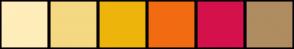 Color Scheme with #FFEDBA #F5D882 #EDB50C #F26B11 #D4114B #B08C61