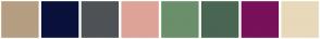 Color Scheme with #B59E81 #0A113B #4E5257 #DEA397 #6A8F6A #496652 #78105A #E8D9BA