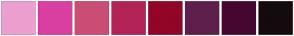 Color Scheme with #EC9FD0 #D93FA1 #CA4D75 #B32356 #920527 #5E1F4C #450730 #140B0E