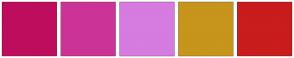 Color Scheme with #BF0D5D #CC3396 #D67BE0 #C7941C #C91C1C