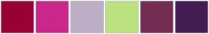 Color Scheme with #990033 #CA278C #BDAEC6 #BCE27F #732C52 #421C52